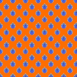 Christmas Holiday blue Ball pattern  isolated on a orange background.