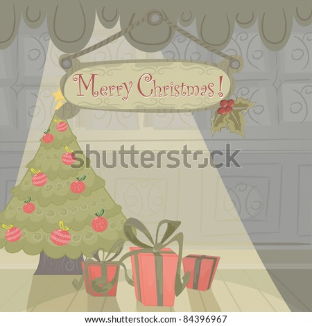 Christmas holiday card with cartoon background, presents and tree. Text easy removable