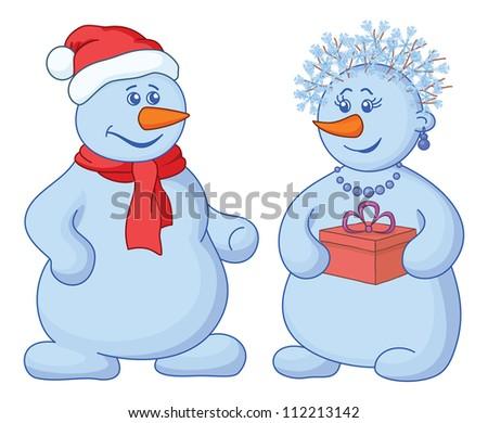 Christmas holiday cartoon, snowballs man and woman with a gift box