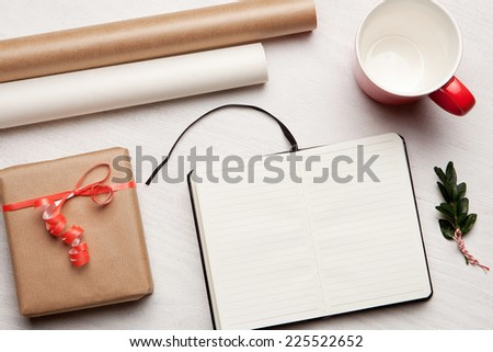 Christmas holiday celebration. View from above with copy space. Making a gift list. Valentines day. Birthday celebration