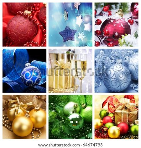 Christmas Holiday Collage - stock photo