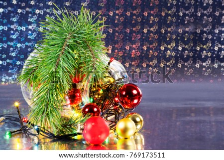 Christmas holiday composition, ornament. Festive creative gold pattern, spruce branches, xmas tree, xmas golden decor holiday ball with gift and ribbon on wooden brown background.  #769173511