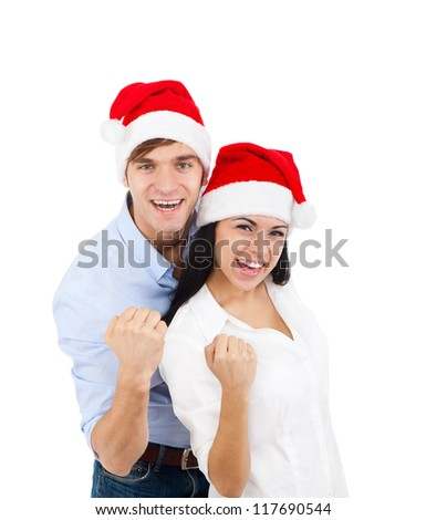 christmas holiday couple excited happy smile hold fist yes arm hand gesture, isolated over white background