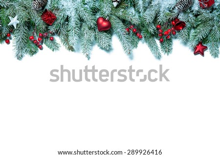 Christmas holiday decorations isolated on white background