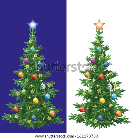 Christmas holiday fir tree with decorations: balls and stars, isolated