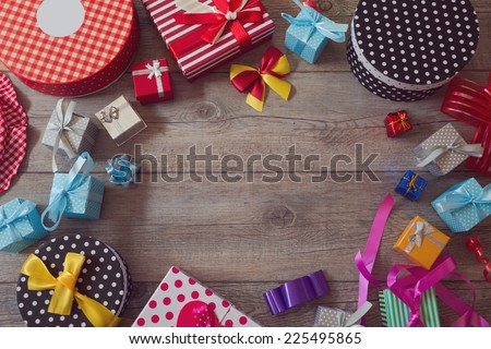 Christmas holiday gift shopping background. View from above with copy space