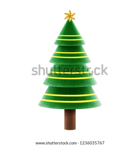 Christmas holiday spruce fir tree and with ornaments and golden stars realistic illustration isolated on white background. #1236035767