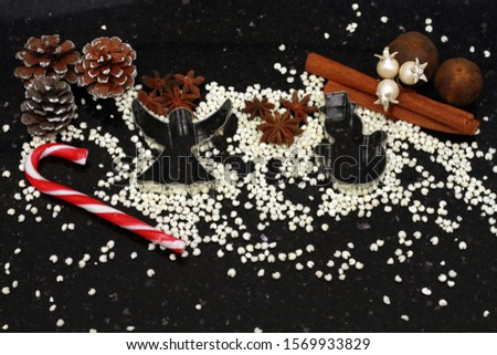 christmas holidays, christmas holidays, 2020, angel, snowman, pine cone, cinnamon, granite, black, decorations, baking, molds, roasted millet, candy, ornaments, background, dried lime #1569933829