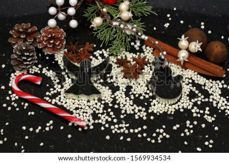 christmas holidays, christmas holidays, 2020, angel, snowman, pine cone, cinnamon, granite, black, decorations, baking, molds, roasted millet, candy, ornaments, background, dried lime #1569934534