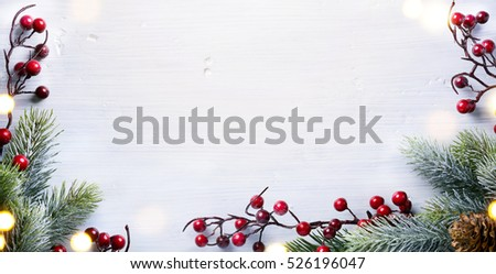 Christmas holidays composition with Christmas tree decoration on white background and copy space for your text