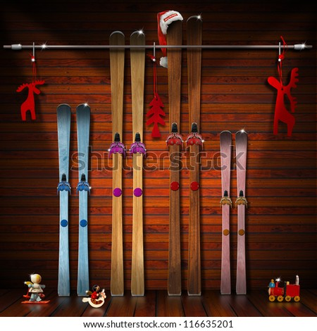 Christmas Holidays with Family / A pair of skis for each family member - winter holidays concept