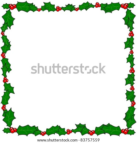 Christmas holly border frame illustration with copy space - stock photo