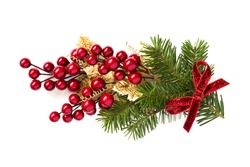 Christmas holly branch decoration isolated on white background.
