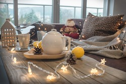 Christmas home decor and hot drink on the table