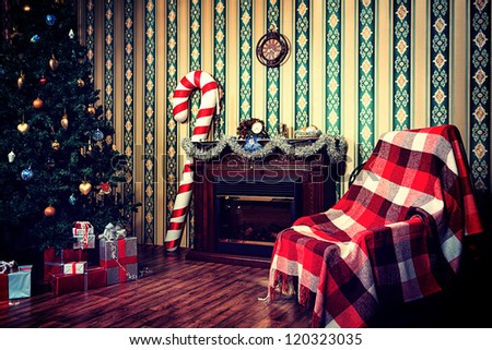 Christmas home decoration with tree, gifts and fireplace. #120323035