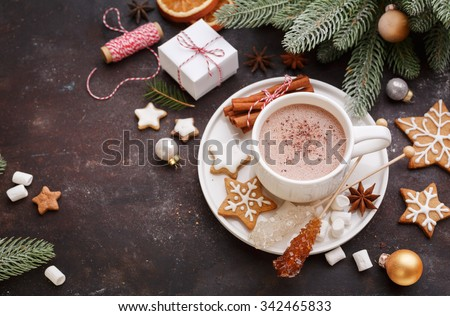 Christmas homemade gingerbread cookies and hot chocolate, top view.  Christmas Holiday background.