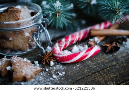 Christmas homemade gingerbread cookies and red candy cane on old wooden table with fir tree. Christmas treats concept. Christmas moody style background. Selective focus. Copy space. Toned image.