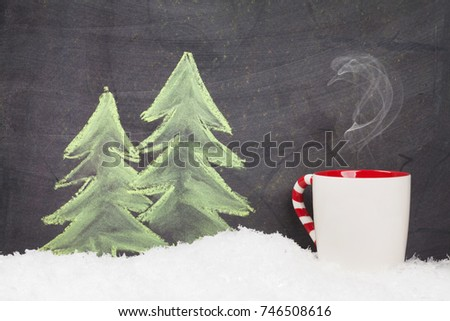 Christmas hot drink and hand drawn xmas fir tree with snow #746508616