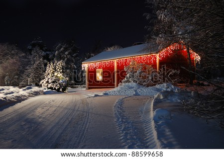 Christmas house decorated with fairy lights
