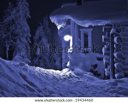 Christmas house in the night