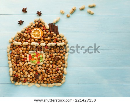 Christmas house made of nuts, berries and anise. Viewed from above.