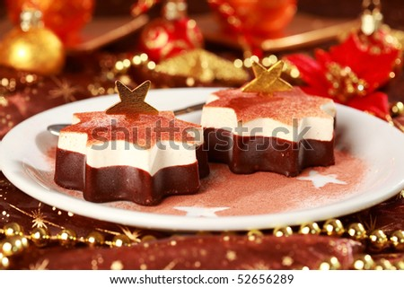 Christmas ice cream with chocolate and cinnamon