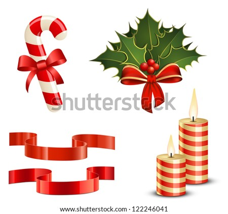 Christmas icon set. Candy Cane, Christmas Holly, Ribbons and Candles. Raster version