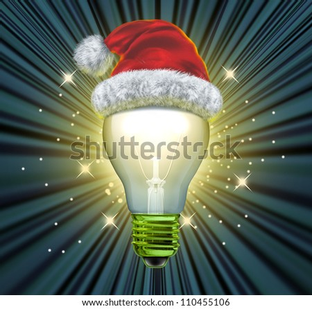 Christmas ideas and gift idea for the winter holiday season with an illuminated light bulb and a santaclause red santa hat glowing on black as a concept of solutions to seasonal questions.
