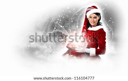 Stock Photo Christmas illlustration of beautiful girl in santa costume