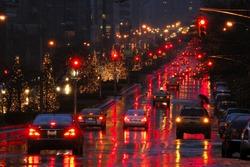 Christmas illumination at night along Park Avenue, Manhattan, New York