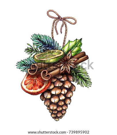 Christmas illustration, pine cone, festive ornament, dried orange, cinnamon, hand drawn clip art isolated on white background