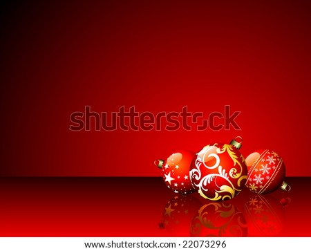 Christmas illustration with red balls on red background. (JPG)