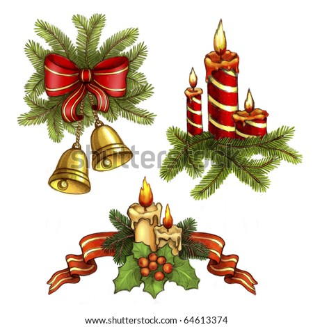 Christmas illustrations of candle and holly berry, bells and bow