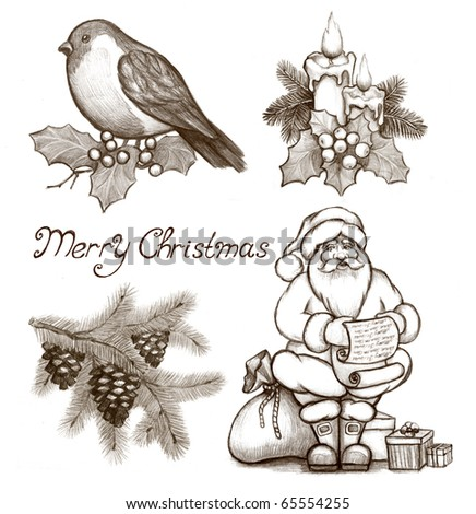 Christmas illustrations of candle and holly berry, cone on branch , Santa Claus and bullfinch