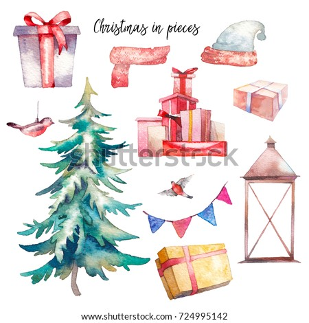Christmas illustrations set. Watercolor vintage objects: gift boxes, christmas tree, lantern, bullfinch, flags garland, clothes. Isolated holiday icons on white background