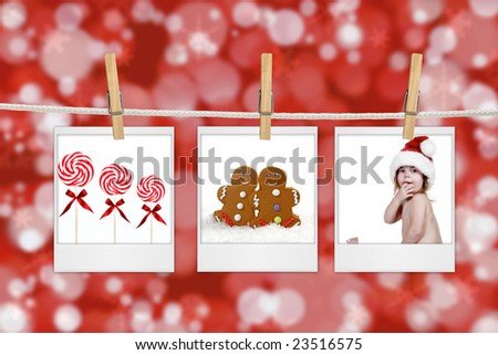 Christmas Images Hanging from a Rope With Clothespins
