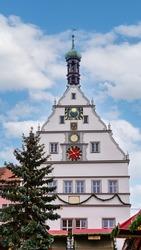 Christmas in Bavaria. Marktplatz square buildings Rothenburg ob der Tauber Old Town Bavaria Germany