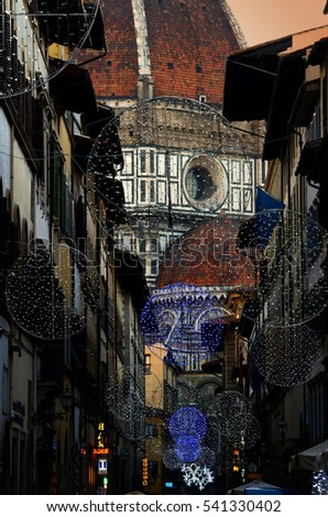 Christmas in Florence, Christmas Ornaments with the Cathedral (Duomo) on the background. #541330402