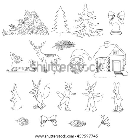 Christmas in forest. Set for Christmas decoration. Hand drawn elements for holidays. #459597745