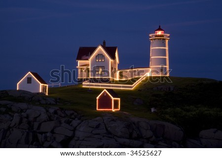 Christmas in July at the Nubble Lighthouse, York, Maine