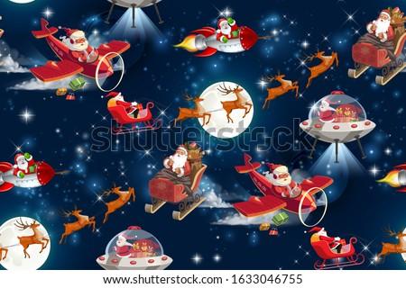 Christmas in space.seamless pattern. noel illustration. Santa Claus,deer,galaxy,moon.