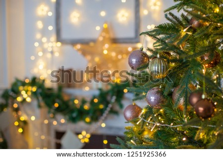 Christmas interior in classic color. Holiday decoration.  #1251925366