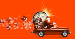 Christmas is coming. Santa Claus on toy car delivering New Year 2021 gifts and countdown clock at orange background with fireworks