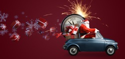 Christmas is coming. Santa Claus on toy car delivering New Year 2021 gifts and countdown clock at red background with fireworks