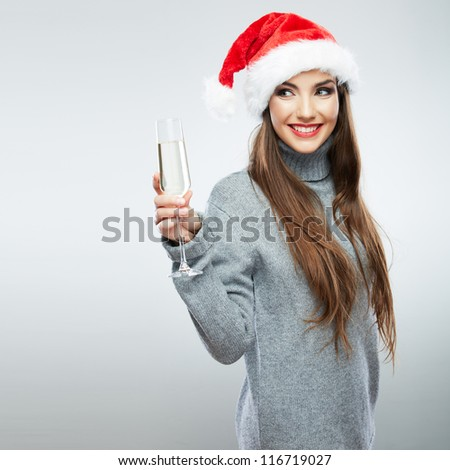 Christmas isolated woman portrait hold wine glass. Smiling happy girl on white background.