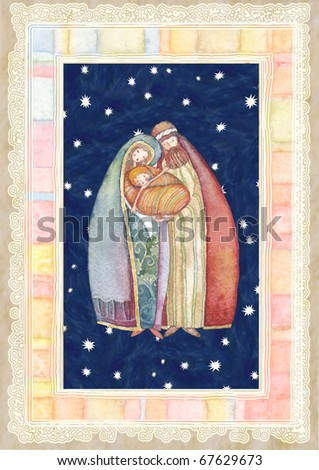 Christmas: Jesus Christ , Joseph, Mary - stock photo