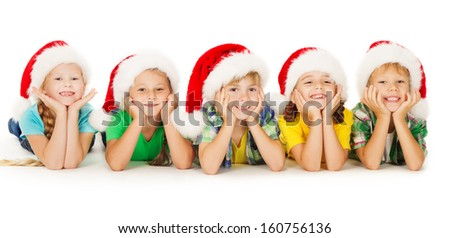 Christmas Kids in Hat, Group of Children Santa Helpers over White Background