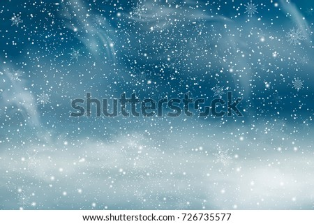 Christmas landscape with Falling  snow, snowflake. Holiday winter landscape background for Merry Christmas and Happy New Year.  illustration