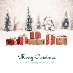 Christmas landscape with gifts and snow. Christmas background