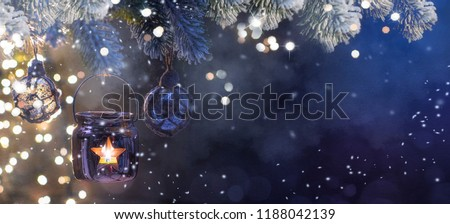 Christmas Lantern, Christmas and New Year holidays background, winter season.  - Shutterstock ID 1188042139